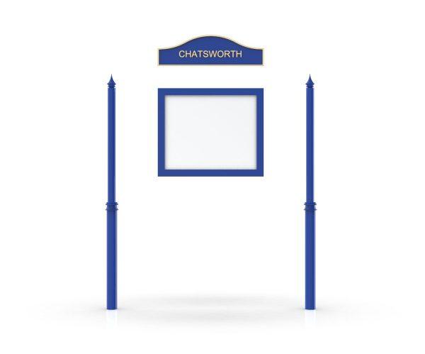 Chatsworth Headboard, Single Door Opening, Decor Pole, Spike Pole Topper, Blue