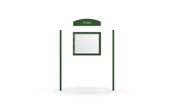 Stoke Headboard, Single Door Opening, Square Pole, Sphere Pole Topper, Green