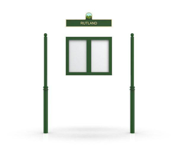 Rutland Headboard, Double Door Opening, Decor Pole, Sphere Pole Topper, Green