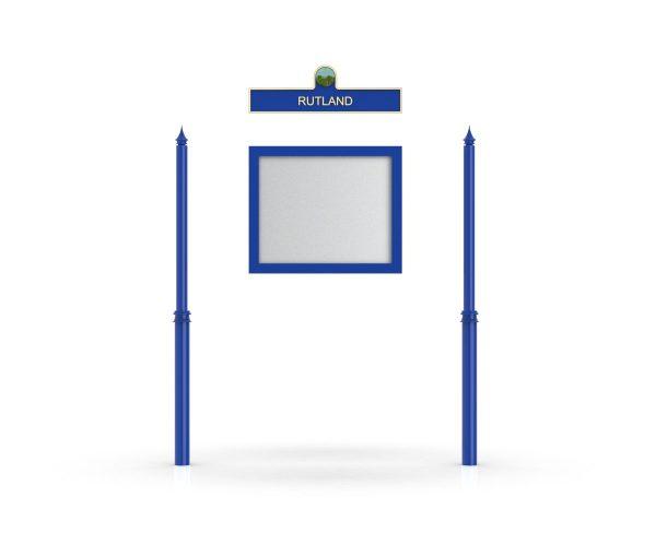 Rutland Headboard, Single Door Opening, Decor Pole, Spike Pole Topper, Blue