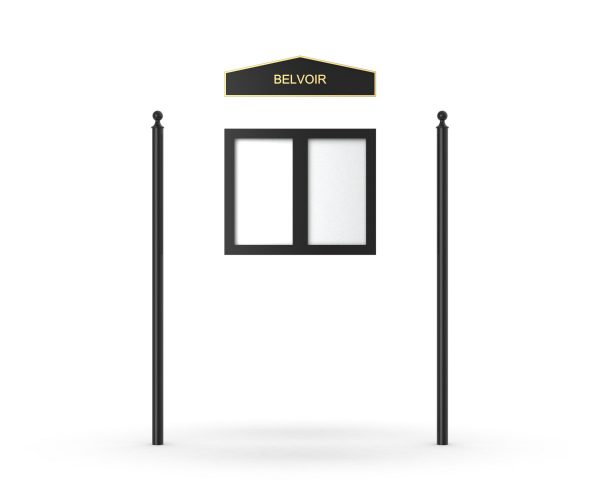 Belvoir Headboard, Double Door Opening, Plain Round Pole, Ball Pole Topper, Black