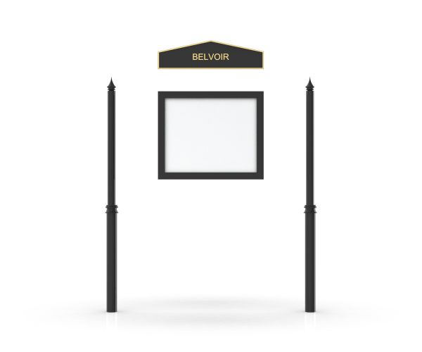Belvoir Headboard, Single Door Opening, Decor Pole, Spike Pole Topper, Black
