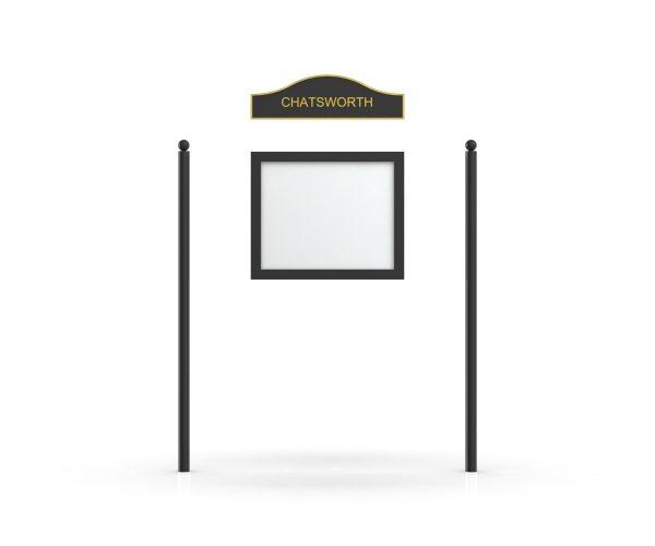 Chatsworth Headboard, Single Door Opening, Plain Round Pole, Sphere Pole Topper, Black