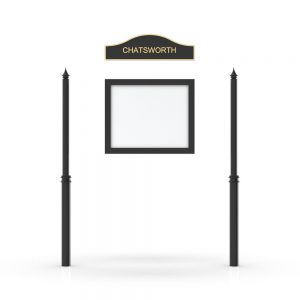 Chatsworth Headboard, Single Door Opening, Decor Pole, Spike Pole Topper, Black