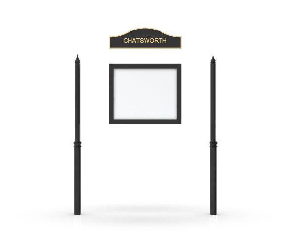 Chatsworth Headboard, Single Door Opening, Decor Pole, Spike Pole Topper, Black