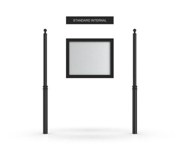 Standard Internal Headboard, Single Door Opening, Decor Pole, Ball Pole Topper, Black