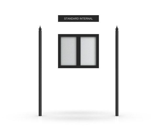 Standard Internal Headboard, Double Door Opening, Rounded Pole, Spike Pole Topper, Black