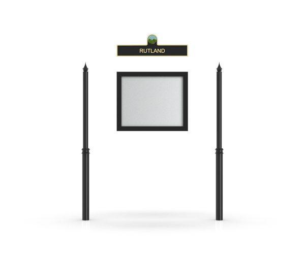 Rutland Headboard, Single Door Opening, Decor Pole, Spike Pole Topper, Black