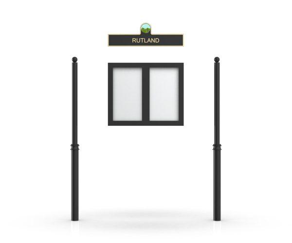 Rutland Headboard, Double Door Opening, Decor Pole, Sphere Pole Topper, Black