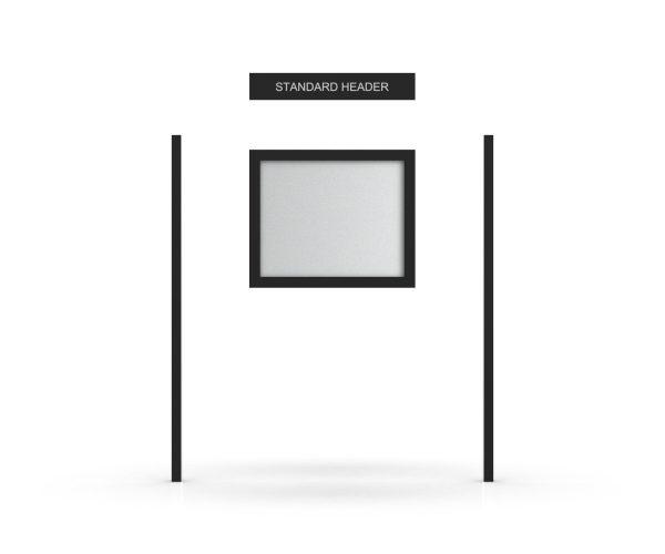 Standard Headboard, Single Door Opening, Square Pole, Cap Pole Topper, Black