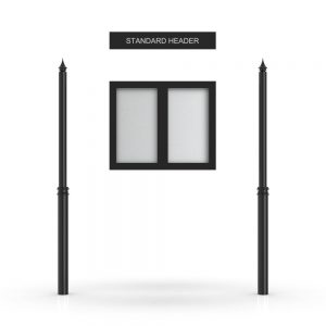 Standard Headboard, Double Door Opening, Decor Pole, Spike Pole Topper, Black
