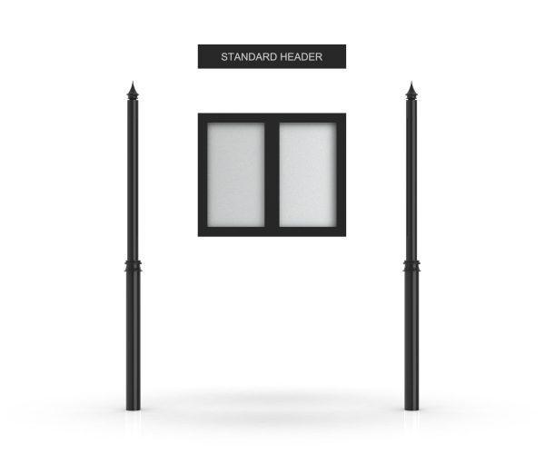 Standard Headboard, Double Door Opening, Decor Pole, Spike Pole Topper, Black