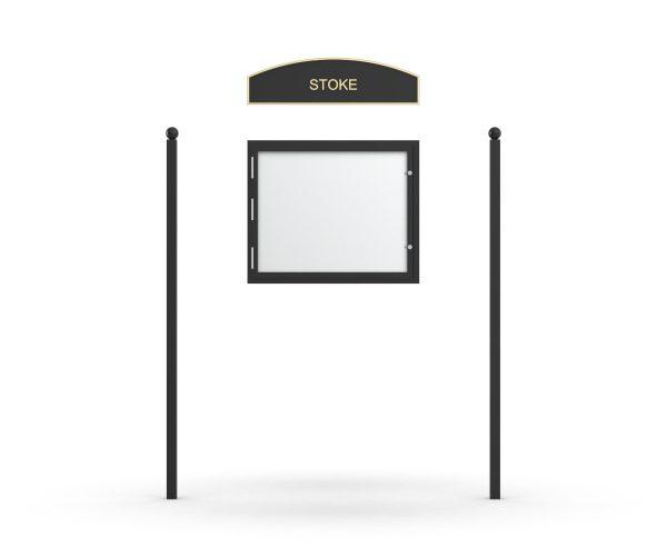 Stoke Headboard, Single Door Opening, Plain Square Pole, Sphere Pole Topper, Black