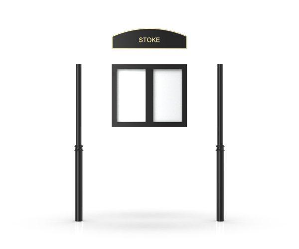 Stoke Headboard, Double Door Opening, Decor Pole, Cap Pole Topper, Black